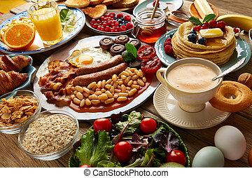 Breakfast buffet full continental and english coffee orange...