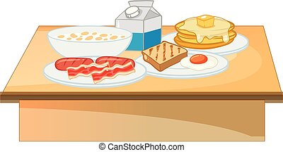 Breakfast buffet set of food illustration