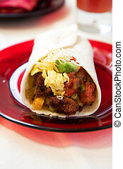 Breakfast Burrito - Spicy chorizo and salsa come together...