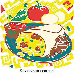 Breakfast Burrito - Stylized art of a breakfast burrito,...