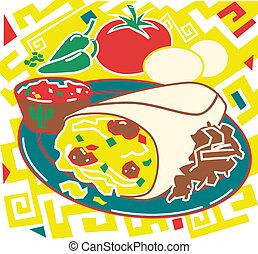 Breakfast Burrito - Stylized art of a breakfast burrito,...