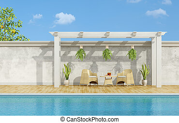 Breakfast by the pool - Holiday villa with pool ,chairs and...