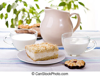Breakfast cake and milk