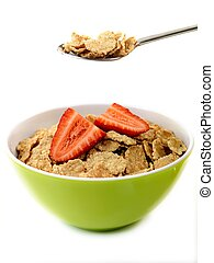 Breakfast Cereal - A bowl of breakfast cereal and...