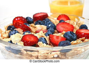 Breakfast Cereal - Breakfast cereal with strawberries and...
