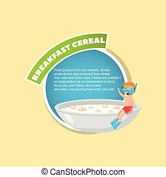 Breakfast cereal description, boy in diving mask sitting on the edge of a giant bowl with breakfast cereal in milk creative poster with text vector illustration