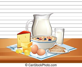 Breakfast cereal in bowl with jar of milk in a group on the table