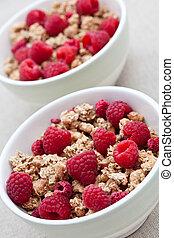 Breakfast cereal with fresh raspberries