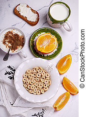 Breakfast cereal with jogurt. style vintage.