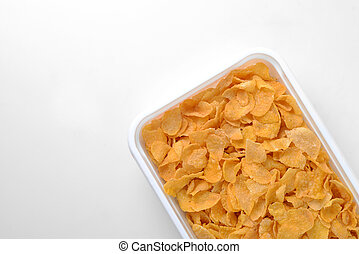 breakfast cereals in a box on white background