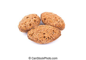 Three pellets breakfast cereals with filling on a white background