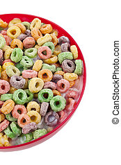 Cropped image of a red bowl with delicious breakfast cereals isolated on a white background