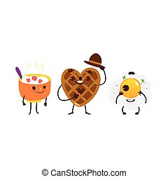Breakfast characters - oatmeal, waffle, fried egg