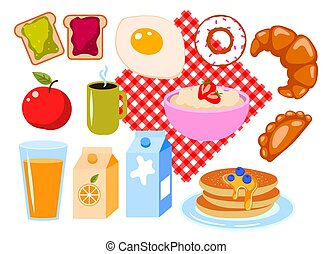 Breakfast clip art vector cartoon set isolated on white.