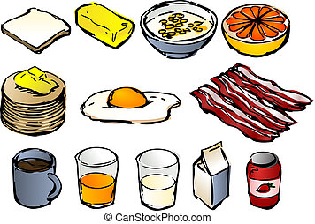 Breakfast clipart illustrations, vector, 3d isometric style...