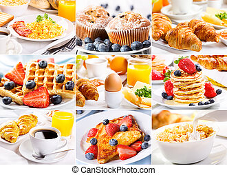 breakfast collage - collage of breakfast with eggs, coffee,...