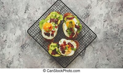 Breakfast concept. Tasty delicious homemade toasts with ...