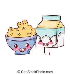 breakfast cute bowl with cereal and milk box cartoon