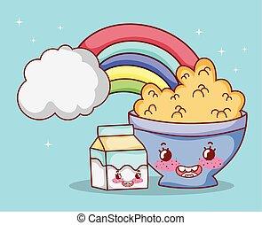 breakfast cute bowl with cereal milk box rainbow cartoon