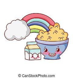 breakfast cute bowl with cereal yogurt and milk box cartoon