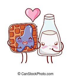 breakfast cute bread and milk bottle kawaii cartoon