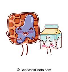 breakfast cute bread with jam and milk box kawaii cartoon