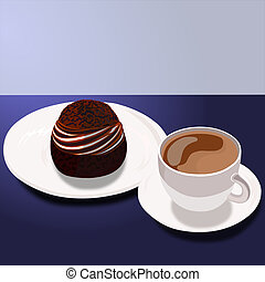 Breakfast, delicious start to the day. A cup of hot coffee and fresh cakes.