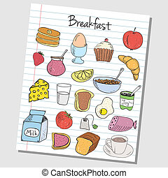 Breakfast doodles - lined paper - Illustration of breakfast...