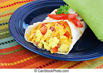 Breakfast Egg Burrito - Delicious breakfast egg, tomato,...