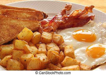Breakfast eggs. - Breakfast of eggs, bacon, toast and hash ...