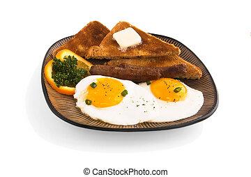 Breakfast, eggs toast and