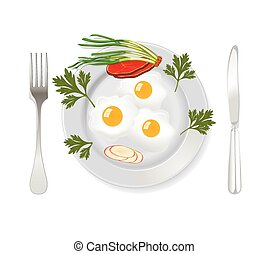 Breakfast eggs with bacon and herbs