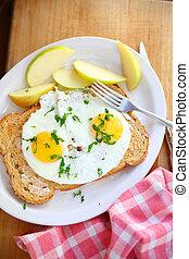Breakfast eggs with toast overhead