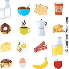 Breakfast Flat And Isolated Icons Set