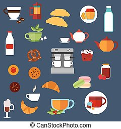 Breakfast food and drinks menu flat icons