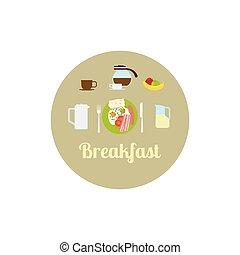 Breakfast food isolated icon set