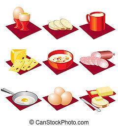 breakfast food - set vector icons of eating breakfast