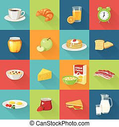 Breakfast Food Square Icon Set