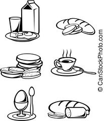 Breakfast food symbols for design isolated on white