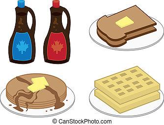 Breakfast Foods - Breakfast foods including waffles,...