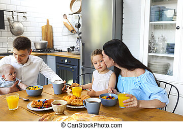 Breakfast for family with two kids