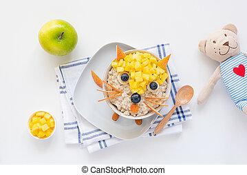 Breakfast for kids, children meal Oatmeal porridge bowl