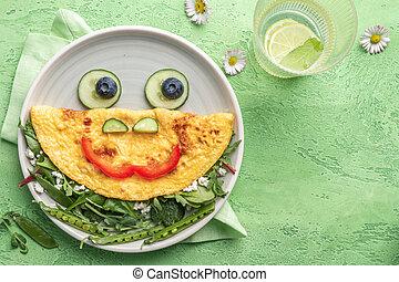 Breakfast for kids - frog omelet