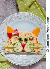 breakfast for kids with cat quesadilla