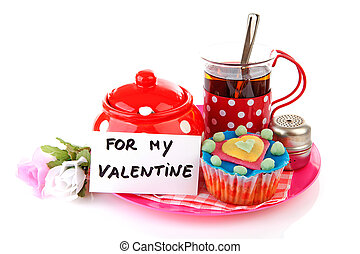 breakfast for my Valentine; cup of tea and cupcake