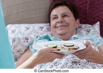 Breakfast for sick woman