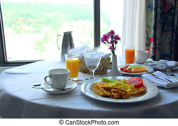Breakfast for two in a hotel room