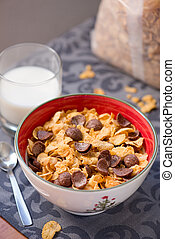 breakfast golden and chocolate cornflakes cereal bowl