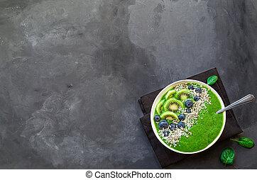 Breakfast green smoothie bowl