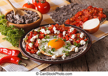 breakfast:, horizontaal, close-up., huevos rancheros, mexicaanse